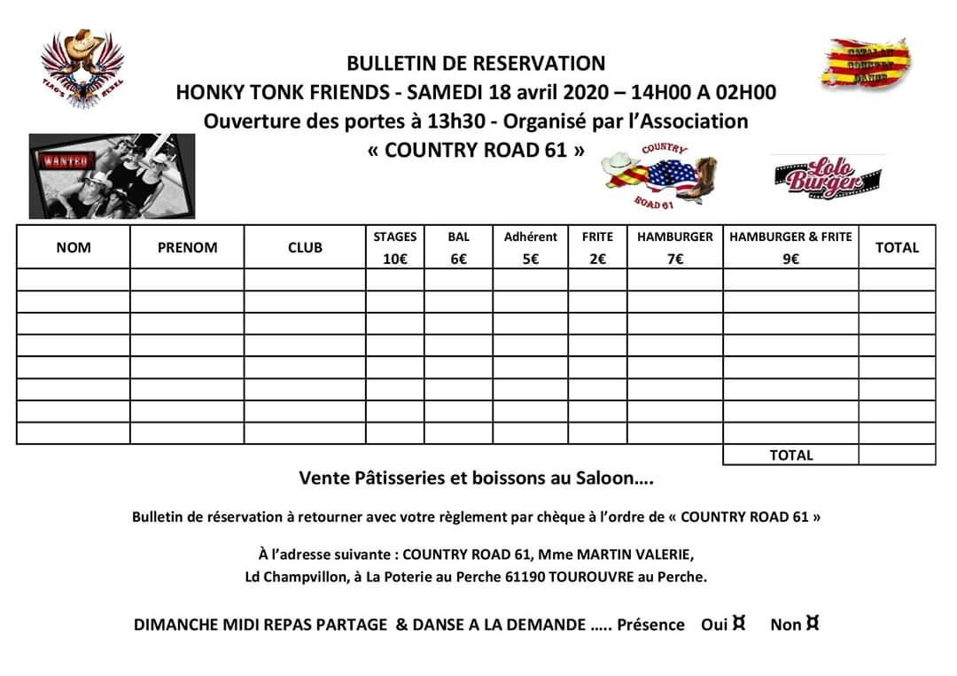 Bulletin de participation 7e Honky Tonk